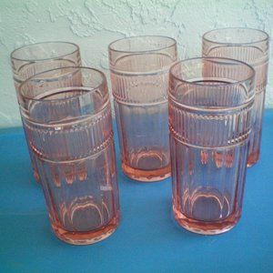 Set of 5 Anchor Hocking Annapolis Rosewater Pink
